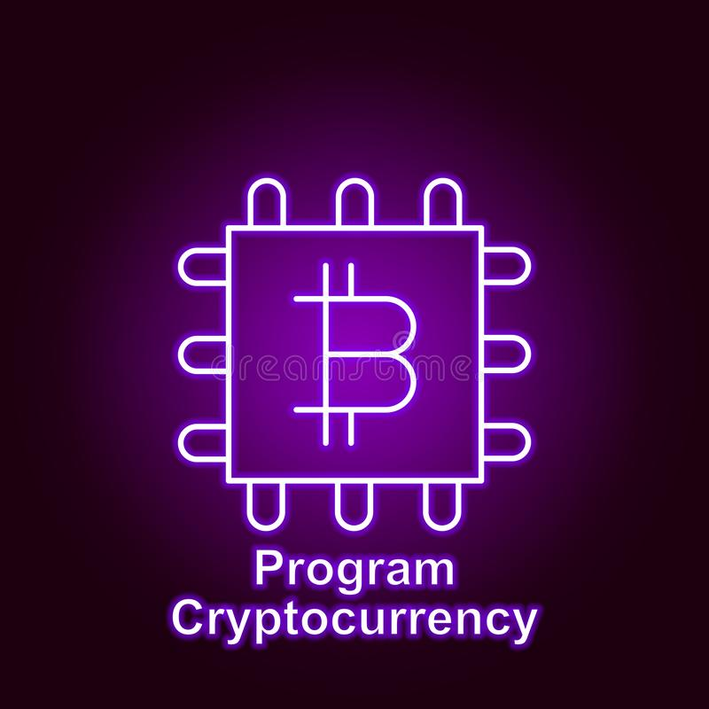Bitcoin processor outline icon in neon style. Element of cryptocurrency illustration icons. Signs and symbols can be used for web. Logo, mobile app, UI, UX on vector illustration