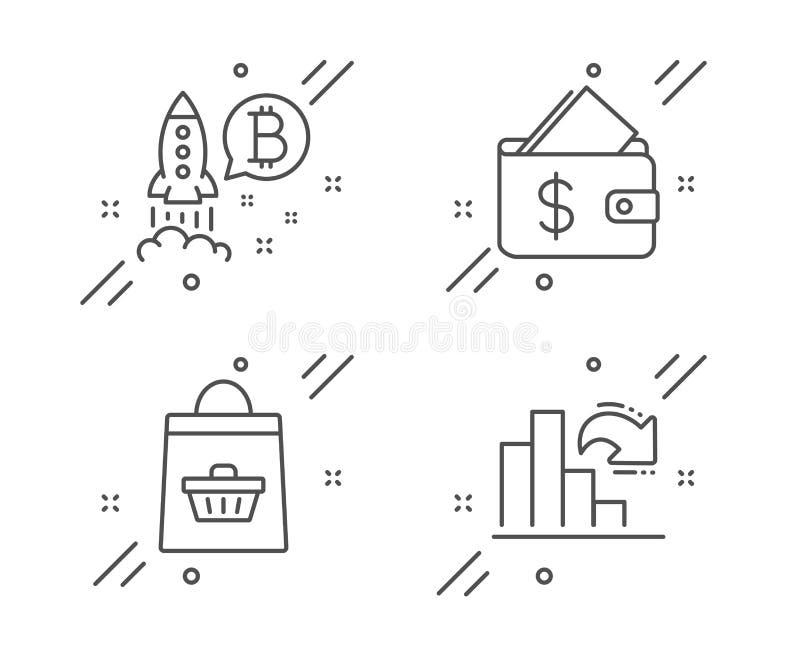 Bitcoin projekt, plånbok och online-köpande symbolsuppsättning Minskande graftecken vektor vektor illustrationer