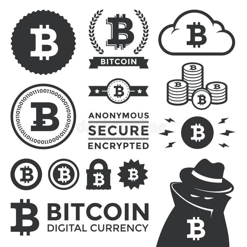Bitcoin projekta etykietki i elementy royalty ilustracja