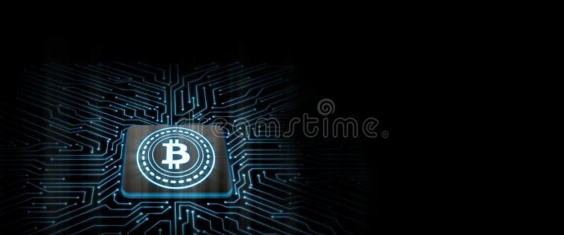 Bitcoin prowadził łunę na chipie komputerowym z obwód deski tłem royalty ilustracja