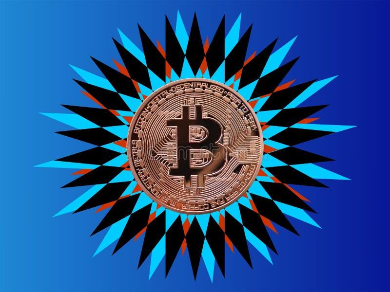 Bitcoin que brilla como una estrella ilustración del vector