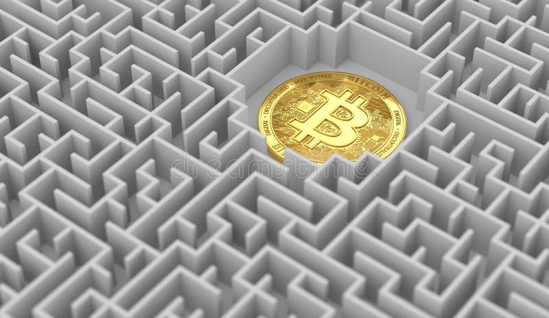 Bitcoin que coloca en alguna parte en el laberinto Problemas, cuestiones alrededor de cryptocurrencies y tentativas que los soluc ilustración del vector