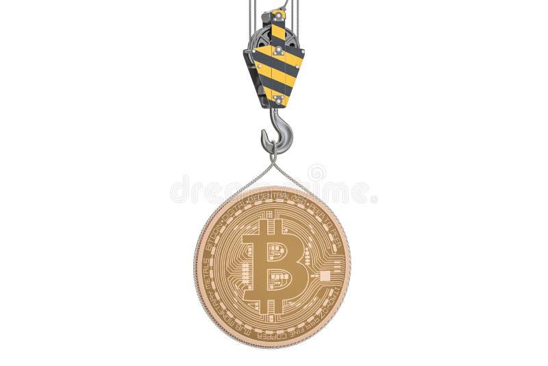 Bitcoin que levanta no gancho do guindaste, rendição 3D ilustração royalty free
