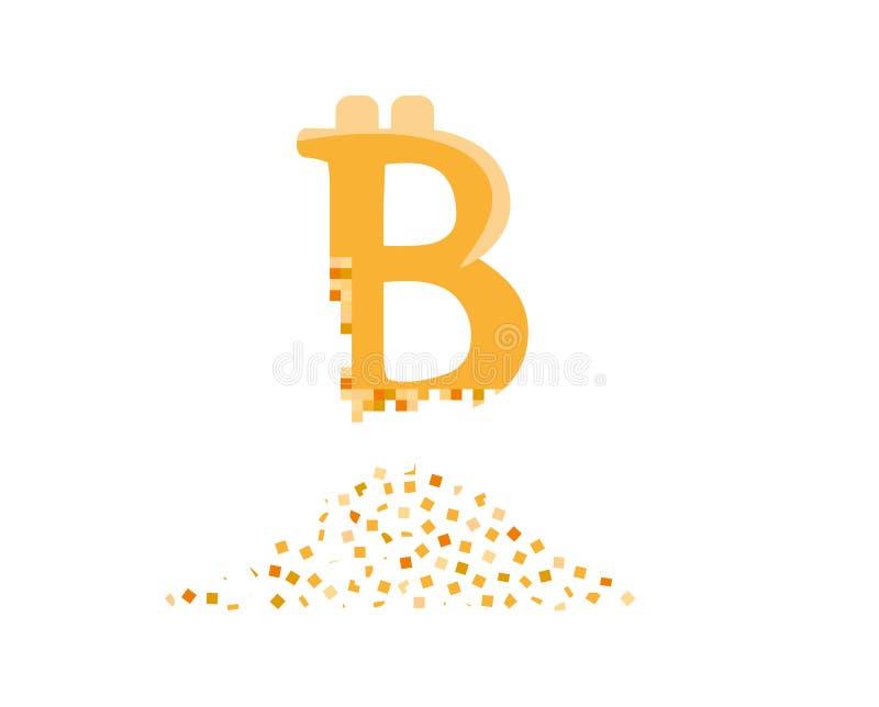 Bitcoin que se estrella en pequeños pedazos libre illustration