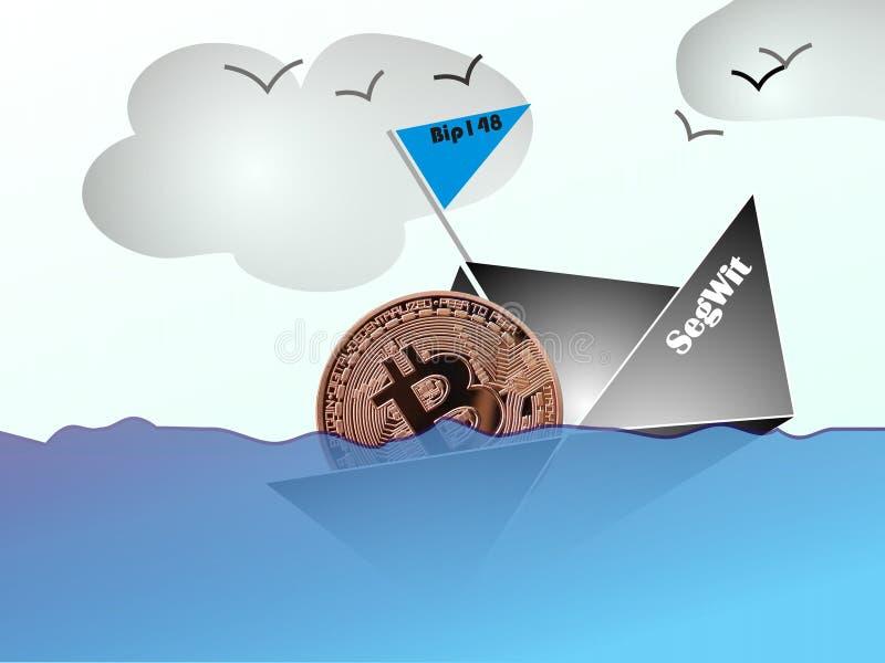 Bitcoin que se hunde a la parte inferior del mercado comercial ilustración del vector