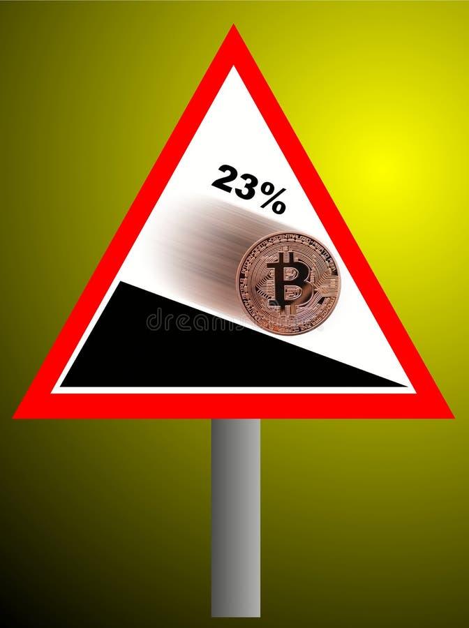 Bitcoin que vai para baixo ilustração stock