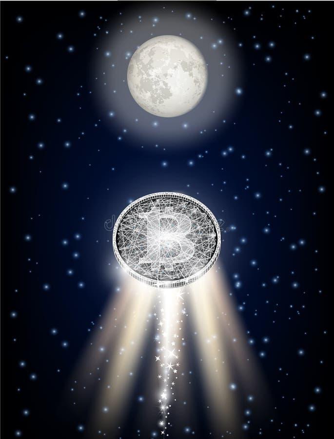 Bitcoin que voa à lua gosta da ilustração do vetor do foguete de espaço ilustração do vetor