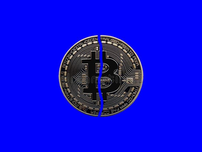 Bitcoin quebrado ilustración del vector