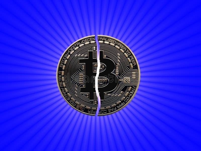 Bitcoin quebrado con la estrella stock de ilustración