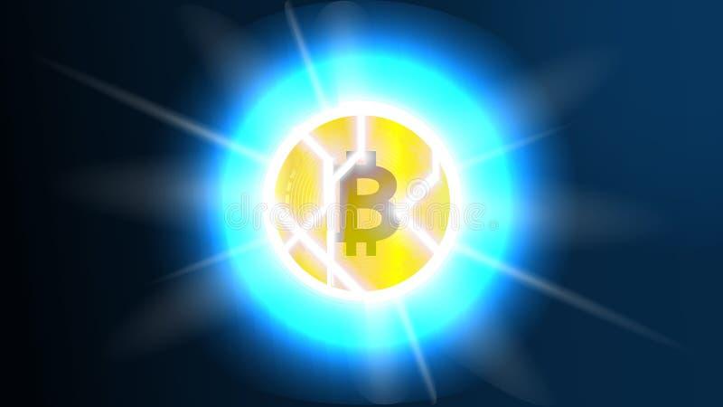 Bitcoin quebrado Diminuição de Bitcoin e conceito da crise Crise de Blockchain O colapso de Bitcoin e riscos de ilustração stock