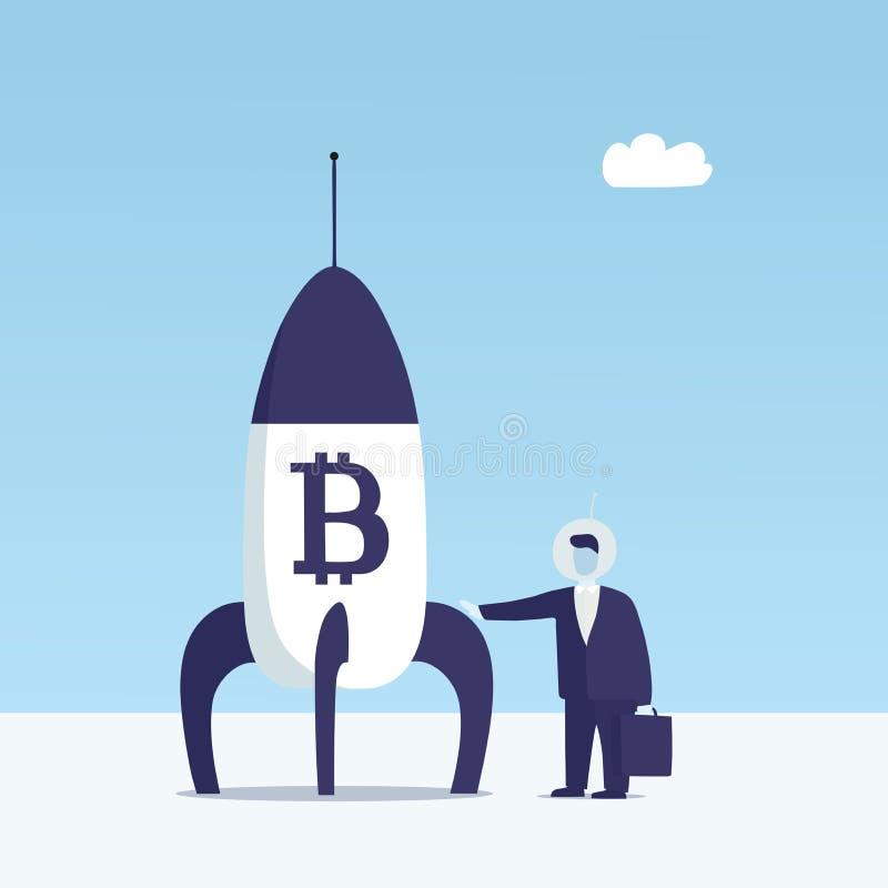 Bitcoin rakieta ilustracja wektor