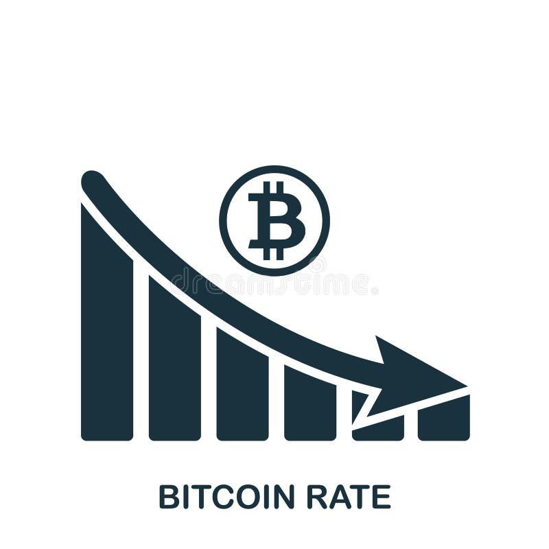 Bitcoin Rate Decrease Graphic symbol Mobil app, printing, webbplatssymbol Enkel beståndsdelallsång Monokrom Bitcoin hastighet royaltyfri illustrationer