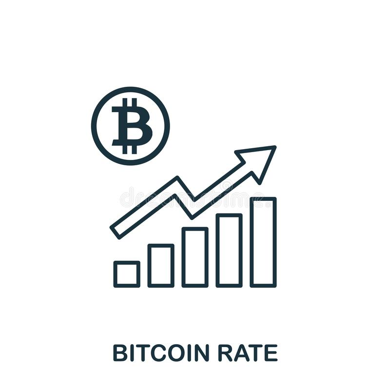 Bitcoin Rate Increase Graphic icon. Mobile apps, printing and more usage. Simple element sing. Monochrome Bitcoin Rate. Increase Graphic icon illustration stock illustration