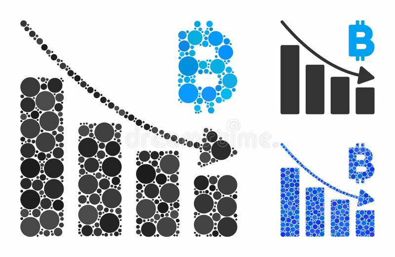 Bitcoin recession bar chart Composition Icon of Circle Dots vector illustration
