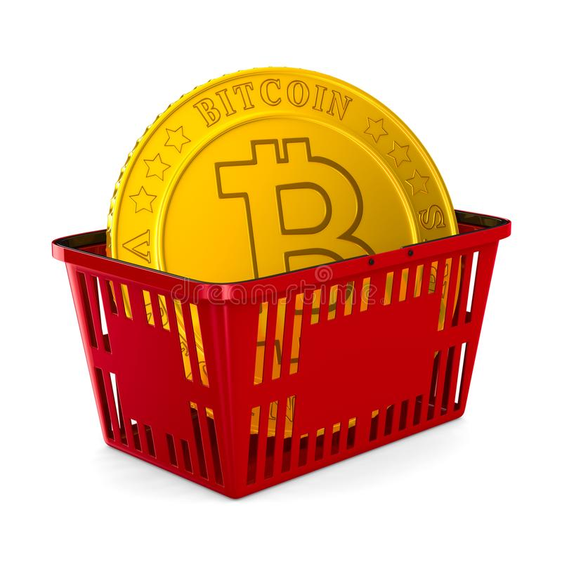 Bitcoin in red shopping basket on white background. Isolated 3d royalty free illustration