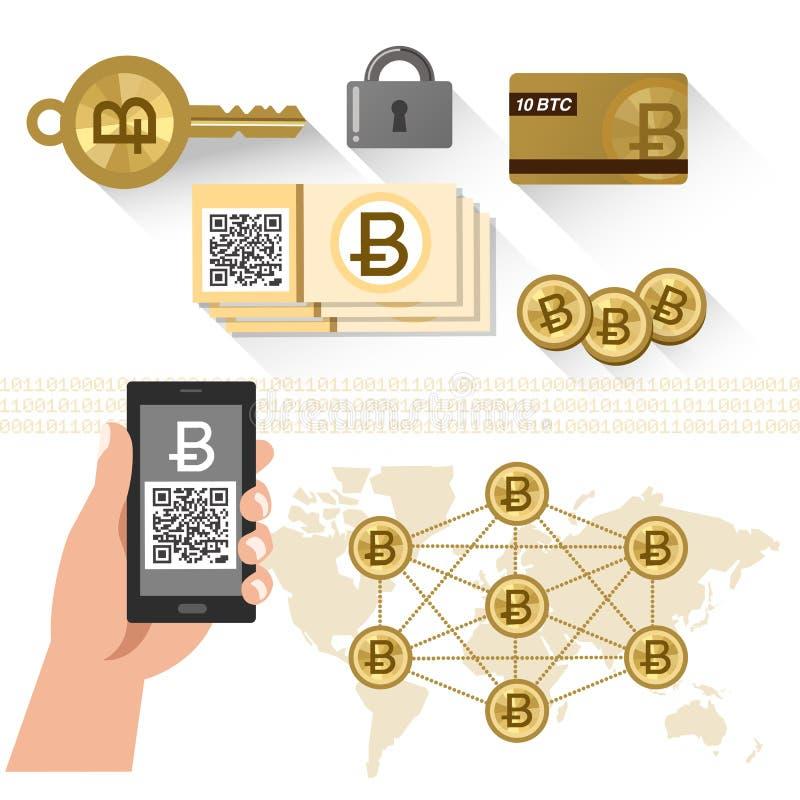 Bitcoin relacionou artigos - sistema do P2P, chave segura ilustração do vetor