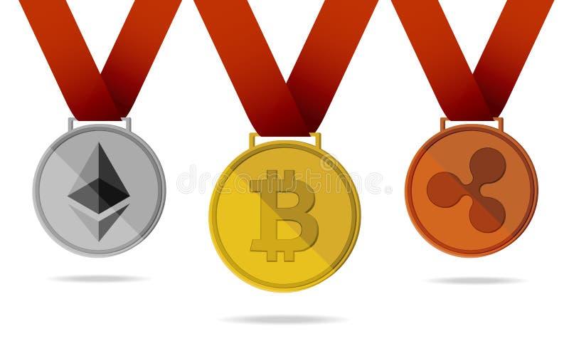 Bitcoin rimpeling De medailles vectorillustratie van de Ethereum digitale munt stock illustratie
