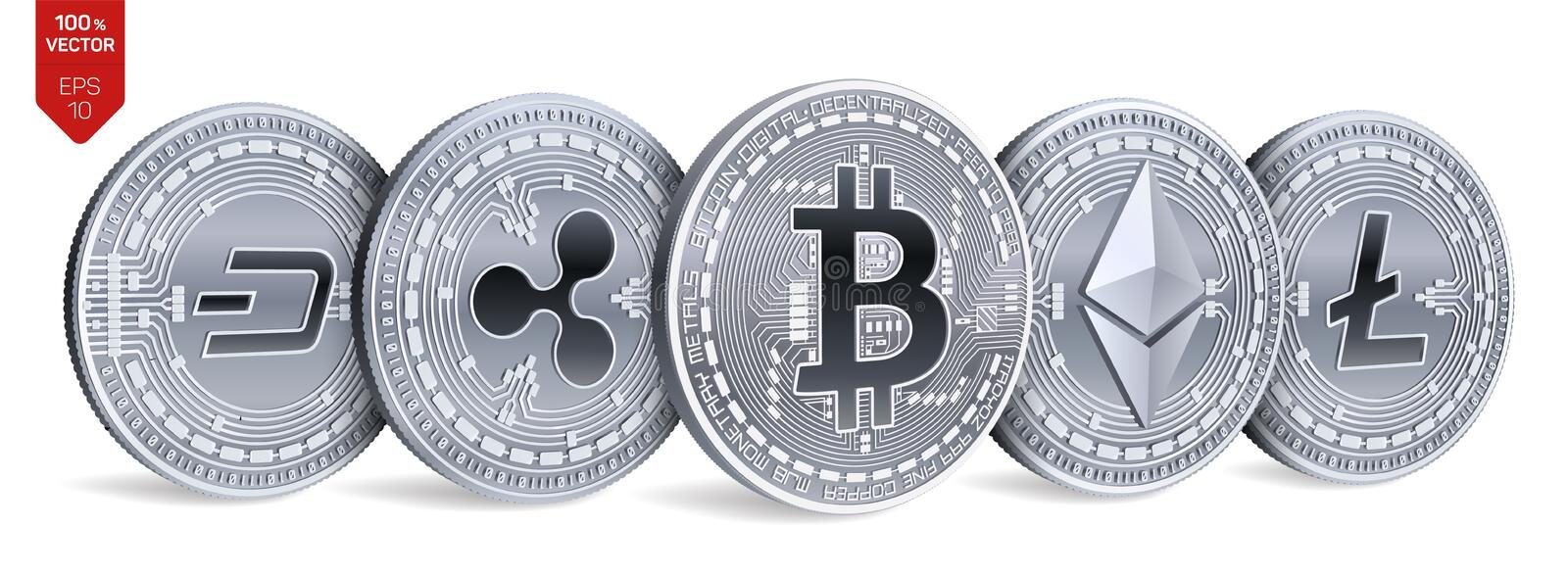 Bitcoin. Ripple. Ethereum. Dash. Litecoin. 3D isometric Physical coins. Crypto currency. Silver coins with bitcoin, ripple, ethere royalty free illustration