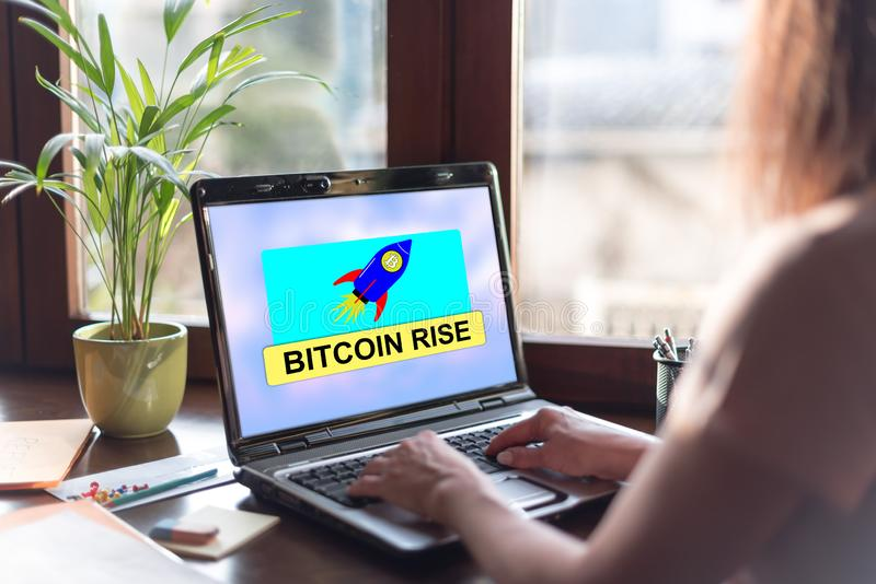 Bitcoin rise concept on a laptop screen stock photo