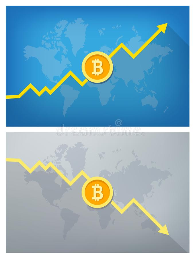 Bitcoin Rise And Fall vector illustration
