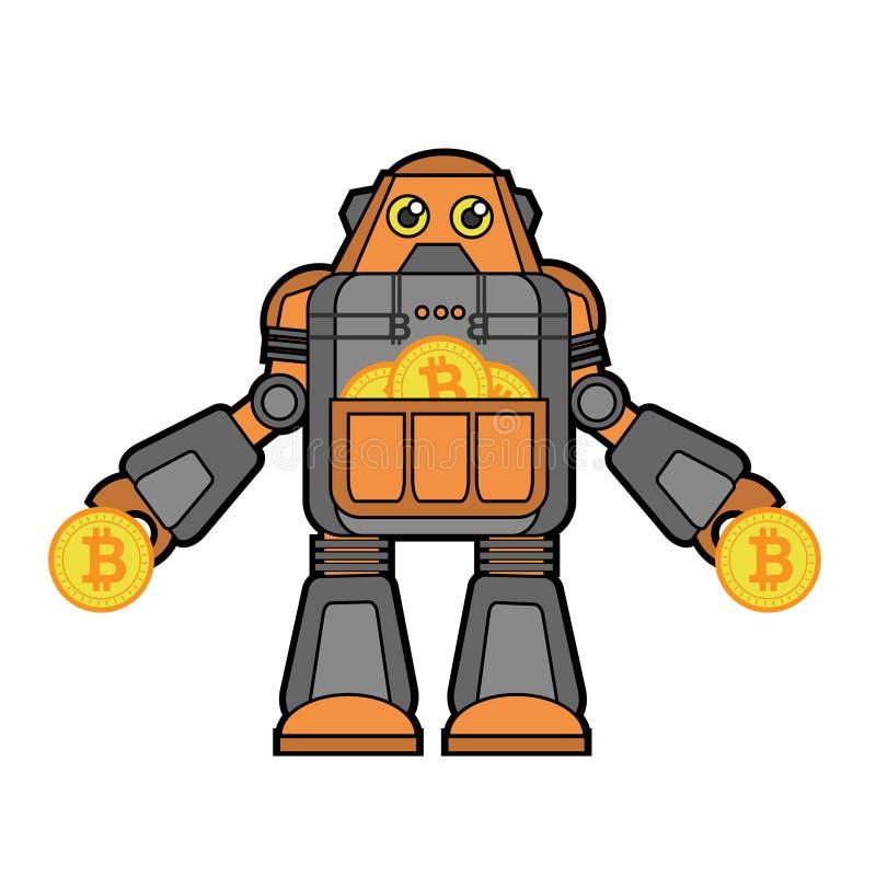 Bitcoin-Roboter-Zeichentrickfilm-Figur-Illustration stock abbildung