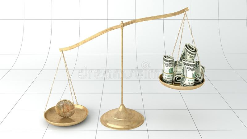 Bitcoin rocketed. This is the recreation of the bitcoin balance in a scale. Bitcoin is a digital currency also called crypto-currency that is not backed by any stock illustration