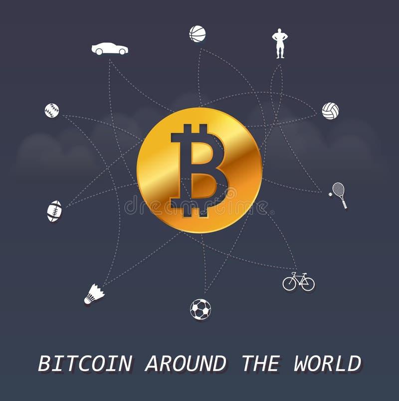 Bitcoin rond de wereld - Virtuele geldtransacties rond de infographic wereld vector illustratie