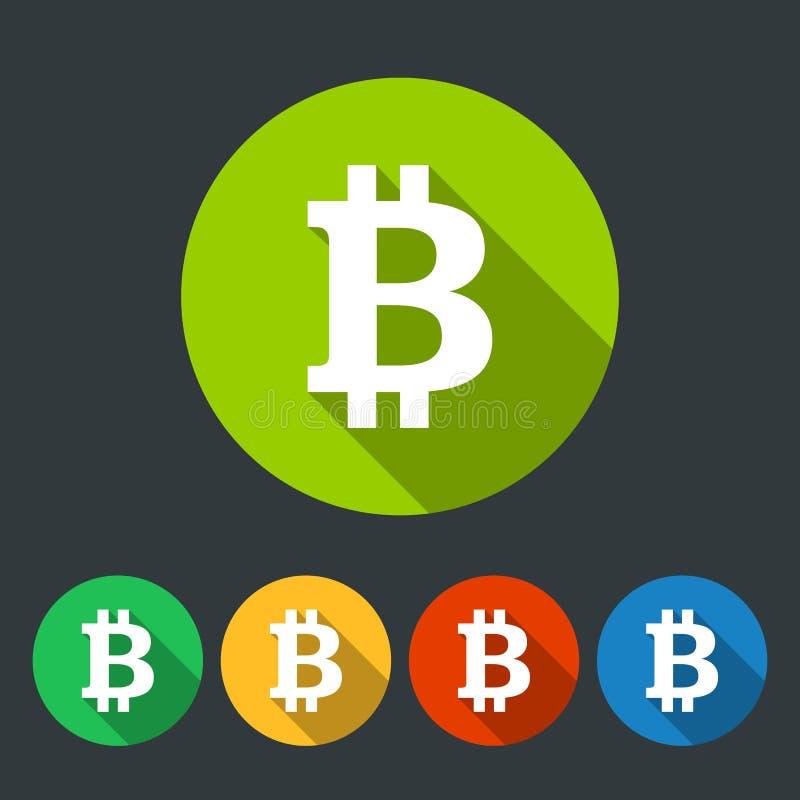 Bitcoin rundasymboler sänker design stock illustrationer