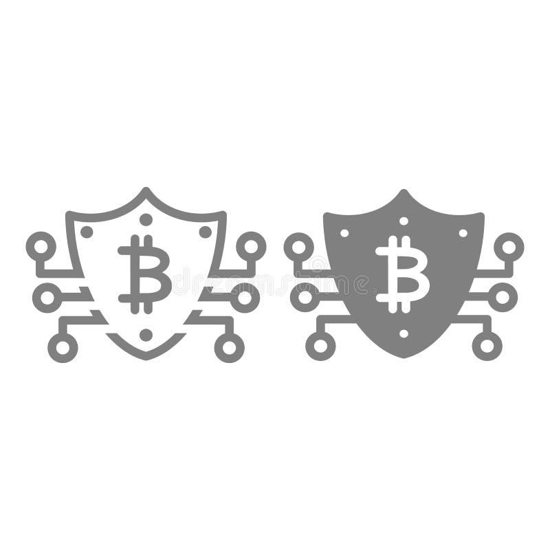 Bitcoin säker linje och skårasymbol Säkerhetsvektorillustration som isoleras på vit Design för sköldöversiktsstil royaltyfri illustrationer