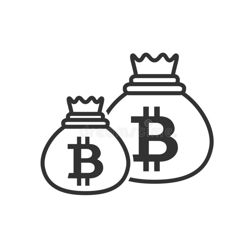 Bitcoin Sacks of Money Outline Flat Icon royalty free stock image