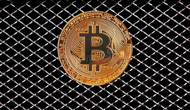 Bitcoin samochodowej odznaki kaloryferowy grille fotografia stock