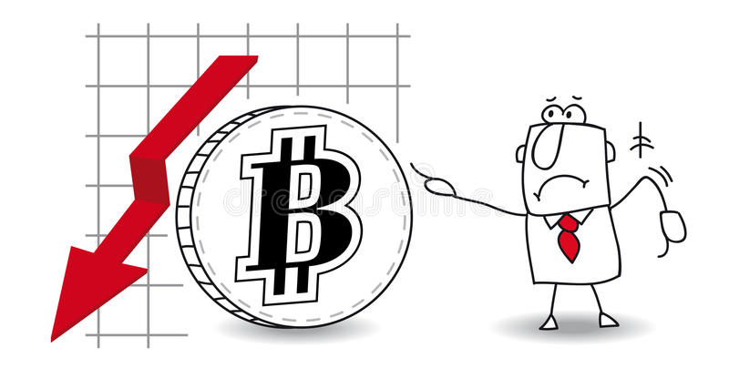 Bitcoin se développe vers le bas illustration stock