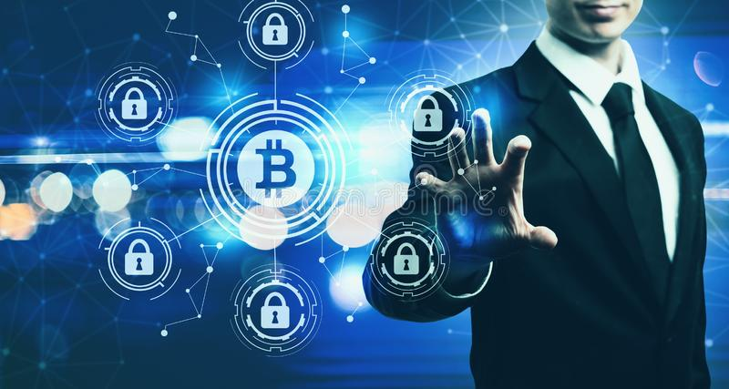 Bitcoin Security Theme with businessman on blue light background. Bitcoin Security Theme with businessman on blurred blue light background royalty free illustration