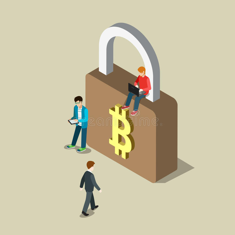 Bitcoin security transaction payment flat 3d vector isometric vector illustration
