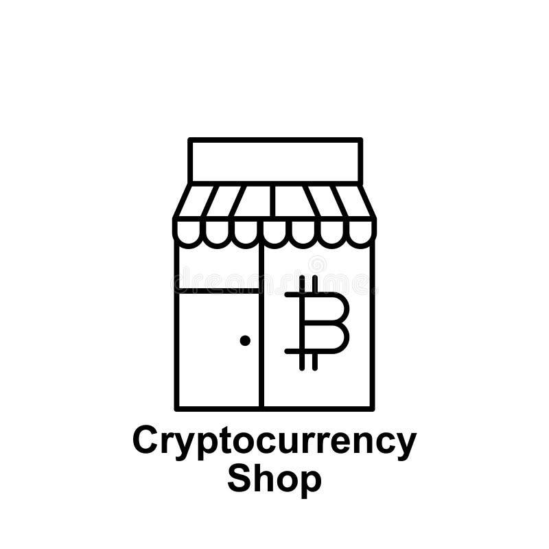 Bitcoin shoppar lageröversiktssymbolen Beståndsdel av bitcoinillustrationsymboler Tecknet och symboler kan användas för rengöring royaltyfri illustrationer