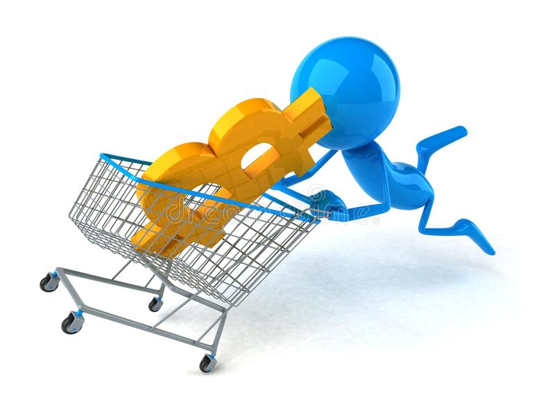Bitcoin shopping - 3D Illustration stock illustration