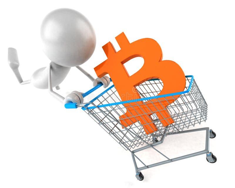 Bitcoin shopping - 3D Illustration vector illustration