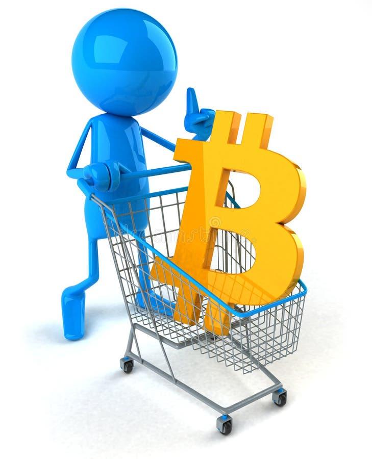 Bitcoin shopping - 3D Illustration royalty free illustration