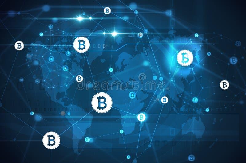 Bitcoin sieć z światową mapą royalty ilustracja
