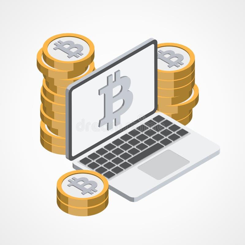 Bitcoin sieci ikona ilustracji