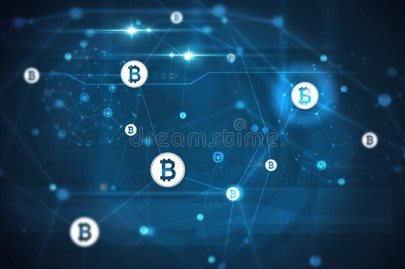 Bitcoin sieci ilustracja royalty ilustracja