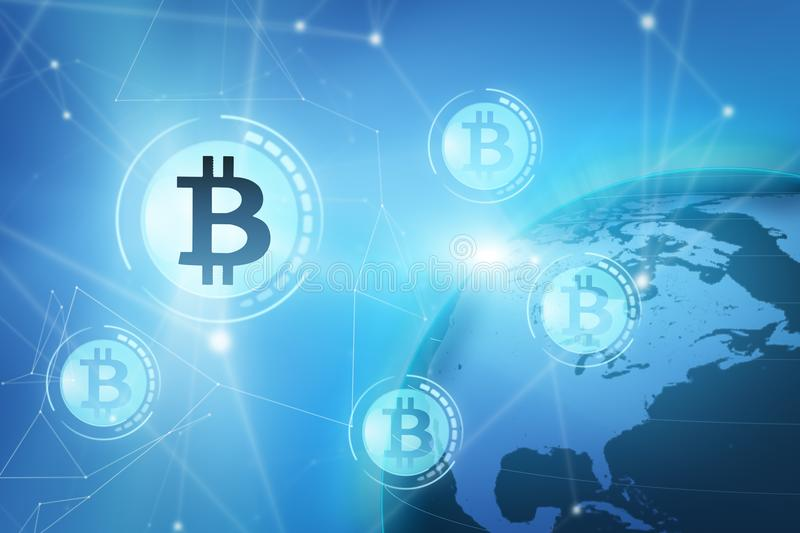 Bitcoin sign on blue virtual screen stock images