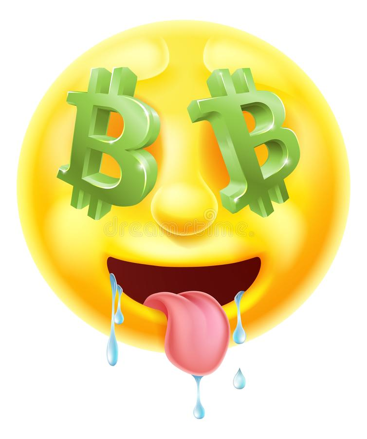 Bitcoin Sign Eyes Emoticon Emoji. Bitcoin sign eyes drooling emoticon emoji character icon royalty free illustration