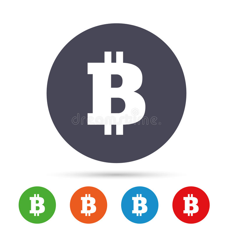 Bitcoin sign icon. Cryptography currency symbol. P2P. Round colourful buttons with flat icons. Vector stock illustration