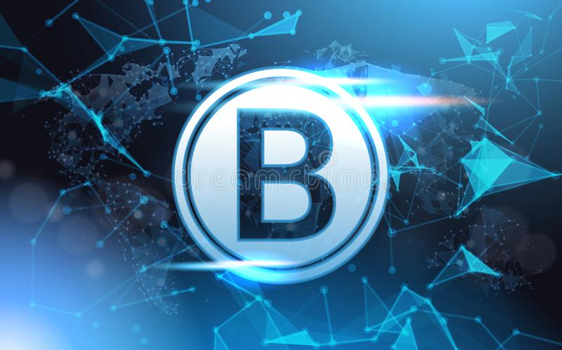 Bitcoin Sign Over Futuristic Low Poly Mesh Wireframe On Blue Background Crypto Currency Mining Concept. Vector Illustration royalty free illustration