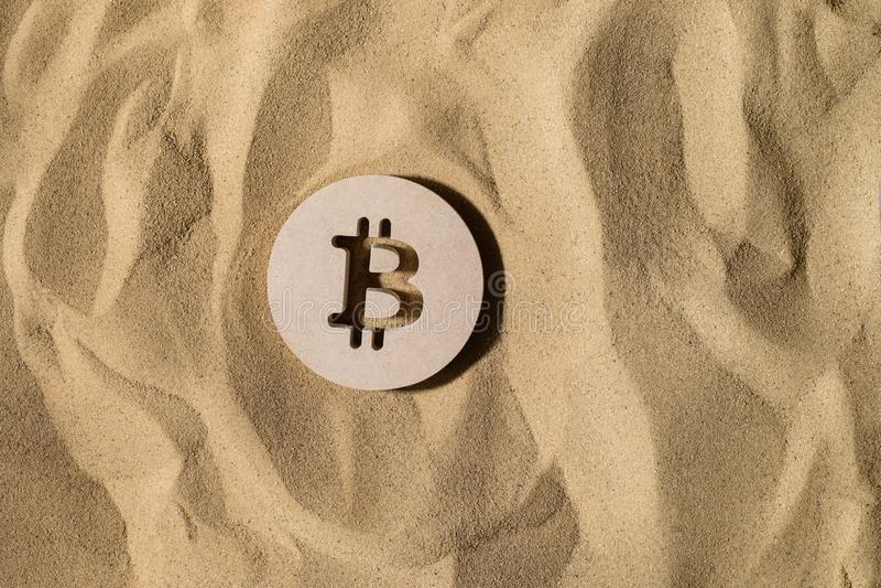 Bitcoin Sign On the Sand royalty free stock photos