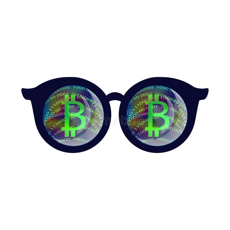 Bitcoin sign vector illustration. Bitcoin sign, cryptocurrency, Cloud mining, Internet money, cryptocurrency mining, 3D glasses, online earnings vector royalty free illustration