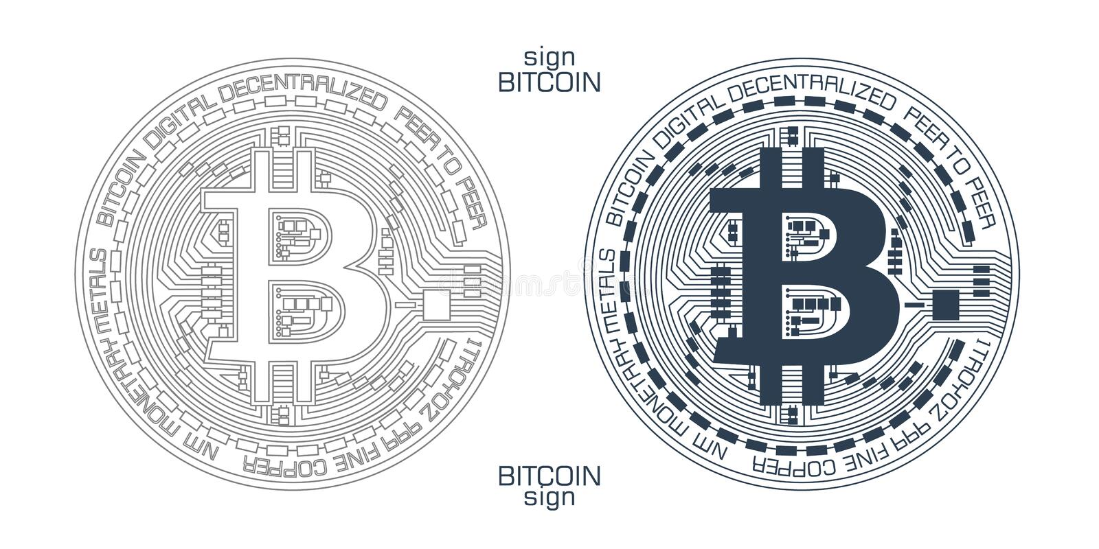 Bitcoin sign vector. New digital currency sign with detailed system showing stylized block-chain technology royalty free illustration