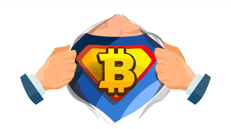 Bitcoin Sign Vector. Superhero Open Shirt With Shield Badge. Mining, Technology For Currency. Isolated Flat Cartoon vector illustration