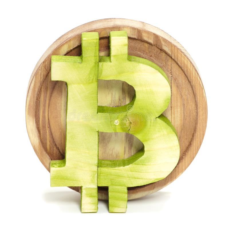 Bitcoin sign wooden, virtual cryptocurrency, isolated on white royalty free stock photo